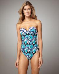 Gottex | Blue Virginia Geometric-Print Bandeau Swimsuit | Lyst