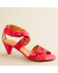 J.Crew | Red Lucca Suede Sandals | Lyst