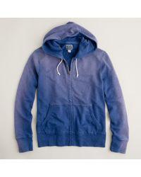 J.Crew | Blue Sunwashed Fleece Zip Hoodie for Men | Lyst