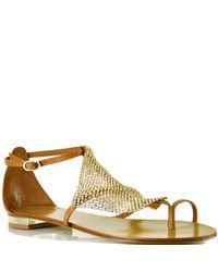 Lola Cruz | 135z10bk - Gold Metallic Mesh Toe Ring Sandal | Lyst