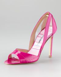 Manolo Blahnik | Pink Nscanti Cutout Patent Leather Pump | Lyst