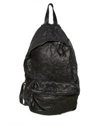 Officine Creative | Black Hammered Calfskin Backpack Bag for Men | Lyst