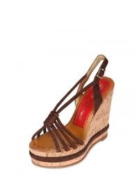 Paloma Barceló | Brown 120mm Woven Suede Sandal Wedges | Lyst