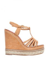Paloma Barceló | Brown 120mm Wooven T-bar Espadrille Wedges | Lyst