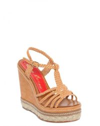 Paloma Barceló - Brown 120mm Wooven T-bar Espadrille Wedges - Lyst
