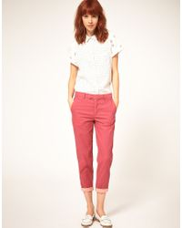 Paul by Paul Smith | Pink Cotton Crop Trouser | Lyst