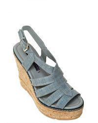 Ralph Lauren - Blue 125mm Fianna Linen Sandal Wedges - Lyst