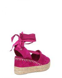 Ralph Lauren - Pink 70mm Suede Espadrillas Wedges - Lyst