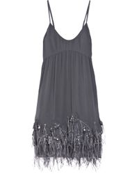 Rebecca Taylor | Gray Feather-embellished Silk Dress | Lyst