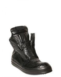 Rick Owens | Black Watersnake High Top Sneakers for Men | Lyst