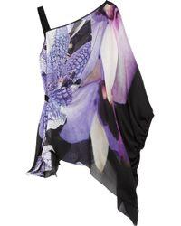 Roberto Cavalli   Black Printed Silk-Chiffon One-Shoulder Top   Lyst