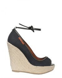 Sergio Rossi | Blue 120mm Denim Open Toe Ankle Laced Wedges | Lyst