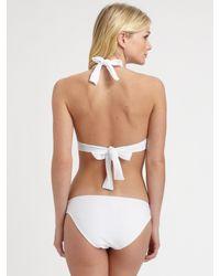 Shoshanna - White Solid Halter Bikini Top - Lyst