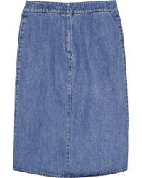 Stella McCartney - Blue Mid-Length Denim Skirt - Lyst
