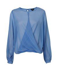 TOPSHOP | Blue Long Sleeve Drape Front Blouse | Lyst