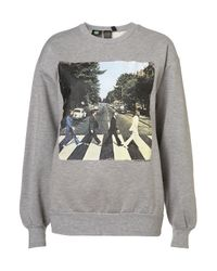 TOPSHOP - Gray Beatles Sweat By and Finally - Lyst