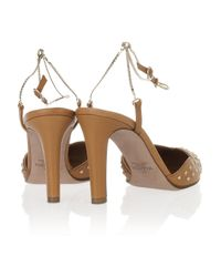 Valentino - Brown Chain-strap Scalloped Leather Pumps - Lyst