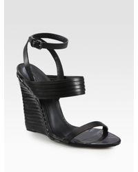 Bottega Veneta - Black Architectural Leather Slingback Wedge Sandals - Lyst