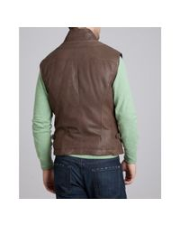 Brunello Cucinelli | Brown Chocolate Leather and Wool Reversible Down Filled Vest for Men | Lyst