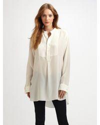JOSEPH | White Oversized semi-sheer silk blouse | Lyst