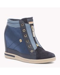 Tommy Hilfiger | Blue Leather Wedge Sneaker | Lyst