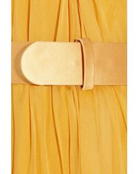 Alexander McQueen | Yellow Belted Silk-Chiffon Dress | Lyst