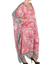Emilio Pucci | Pink Printed Woven Silk Kaftan Dress | Lyst