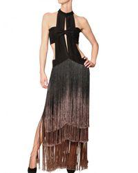 Etro - Black Degradé Silk Fringe On Silk Crepe Dress - Lyst