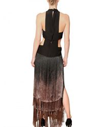Etro | Black Degradé Silk Fringe On Silk Crepe Dress | Lyst