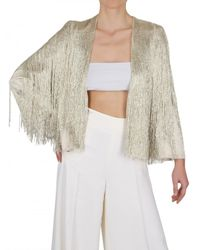 Ferragamo | Metallic Beaded Fringe Silk Georgette Jacket | Lyst