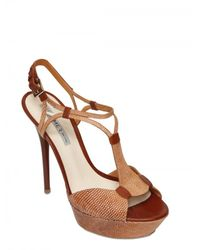 Grey Mer | Brown 130mm Leather Tejus Print Sandals | Lyst