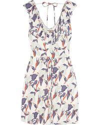 Juicy Couture | White Iris-Print Crepe Dress | Lyst