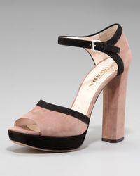 Prada - Blue Bi-color Suede Sandal - Lyst