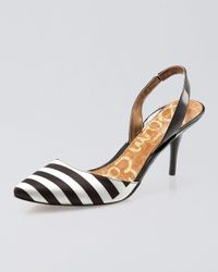 Sam Edelman | Black Orly Striped Slingback Pump | Lyst