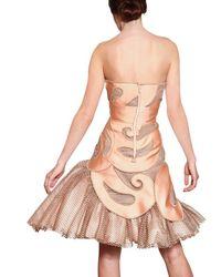 Viktor & Rolf | Orange Mesh Inserts On Techno Silk Duchess Dres | Lyst