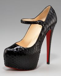 Christian Louboutin | Black Lady Daf Python Mary Jane | Lyst