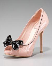 Dior | Pink Cannage Stitch Peep Toe Pump | Lyst