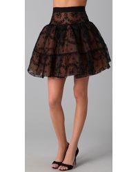 RED Valentino | Black Flocked Rosette Skirt | Lyst