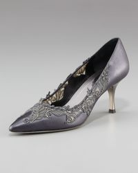 Rene Caovilla | Gray Pointy Toe Lace-inset Pumps | Lyst