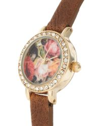River Island - Brown Watch With Floral Face - Lyst