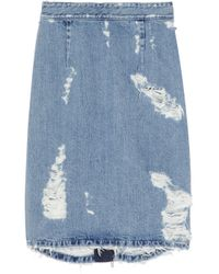 Acne Studios | Blue Trashed Denim Zip Back Pencil Skirt | Lyst