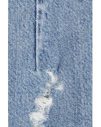 Acne Studios - Blue Trashed Denim Zip Back Pencil Skirt - Lyst
