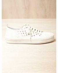 Ann Demeulemeester | White Mens Scamosciato Eyelet Sneakers for Men | Lyst