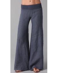 Enza Costa | Blue Linen Wide Leg Pants | Lyst