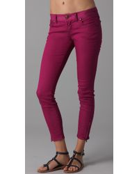 Free People | Pink Ankle Zipper Skinny Jeans | Lyst