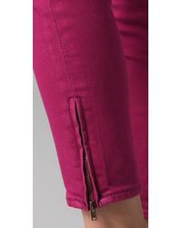 Free People | Pink Ankle Zipper Skinny Jeans | Lyst