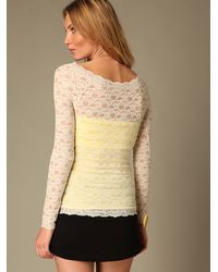 Free People - Pink Scandalous Lace Top - Lyst