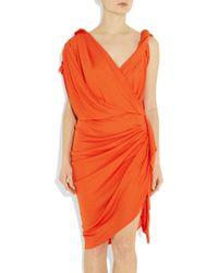 Lanvin | Orange Draped Crepe-jersey Dress | Lyst