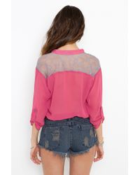 Nasty Gal - Purple Lace Pocket Blouse - Berry - Lyst
