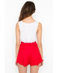 Nasty Gal | Red Button Up Tap Shorts | Lyst